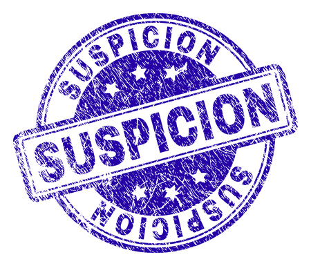 SUSPICION stamp seal watermark with distress texture. Designed with rounded rectangles and circles. Blue vector rubber print of SUSPICION caption with grunge texture.
