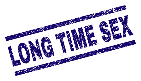 Sello de sello de SEXO DE LARGO TIEMPO con estilo de angustia. Impresión de goma de vector azul de texto de sexo largo con textura de polvo. La etiqueta de texto se coloca entre líneas paralelas.