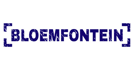 BLOEMFONTEIN caption seal print with corroded style. Text caption is placed between corners. Blue vector rubber print of BLOEMFONTEIN with corroded texture. Illustration