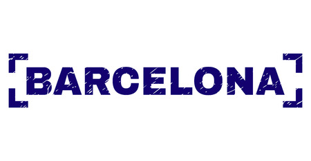 BARCELONA caption seal print with corroded style. Text label is placed inside corners. Blue vector rubber print of BARCELONA with corroded texture. Illusztráció