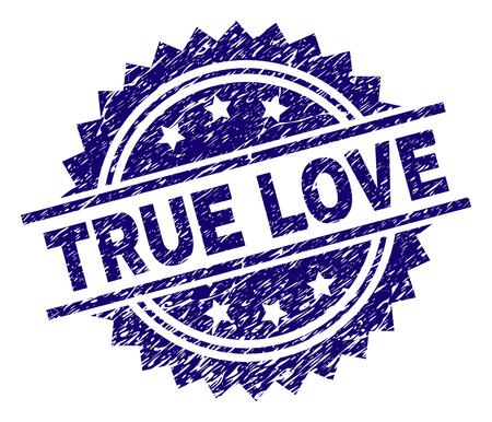 TRUE LOVE stamp seal watermark with distress style. Blue vector rubber print of TRUE LOVE text with scratched texture. Illustration