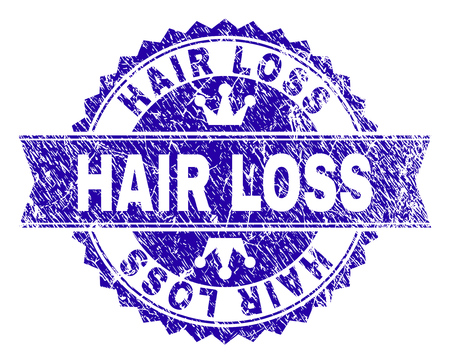 HAIR LOSS rosette stamp seal watermark with grunge texture. Designed with round rosette, ribbon and small crowns. Blue vector rubber watermark of HAIR LOSS label with scratched style.