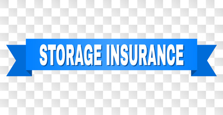 STORAGE INSURANCE text on a ribbon. Designed with white title and blue tape. Vector banner with STORAGE INSURANCE tag on a transparent background.