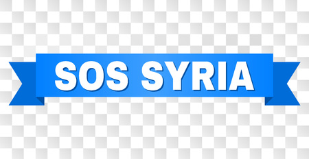 SOS SYRIA text on a ribbon. Designed with white caption and blue stripe. Vector banner with SOS SYRIA tag on a transparent background.