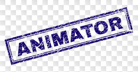 ANIMATOR stamp seal watermark with rubber print style and double framed rectangle shape. Stamp is placed on a transparent background. Blue vector rubber print of ANIMATOR title with grunge texture.