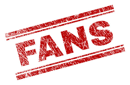 FANS seal stamp with corroded texture. Red vector rubber print of FANS text with corroded texture. Text tag is placed between double parallel lines. Illustration