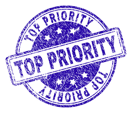TOP PRIORITY stamp seal watermark with grunge texture. Designed with rounded rectangles and circles. Blue vector rubber print of TOP PRIORITY tag with dust texture. Illusztráció