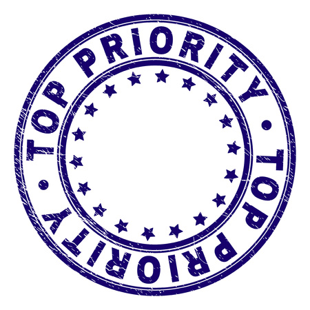 TOP PRIORITY stamp seal watermark with grunge texture. Designed with circles and stars. Blue vector rubber print of TOP PRIORITY title with dirty texture.