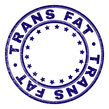 TRANS FAT stamp seal watermark with grunge texture. Designed with round shapes and stars. Blue vector rubber print of TRANS FAT caption with dust texture.