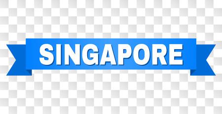 Texto de Singapur en una cinta. Diseñado con título blanco y franja azul. Banner de vector con etiqueta de Singapur sobre un fondo transparente. Ilustración de vector