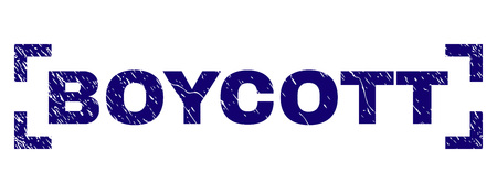 BOYCOTT title seal imprint with distress texture. Text title is placed inside corners. Blue vector rubber print of BOYCOTT with retro texture. Illustration