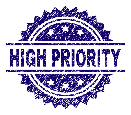 HIGH PRIORITY stamp seal watermark with distress style. Blue vector rubber print of HIGH PRIORITY title with grunge texture.