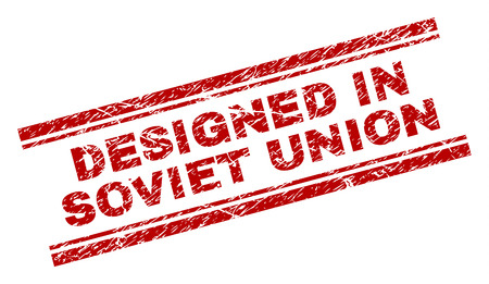 DESIGNED IN SOVIET UNION seal print with corroded texture. Red vector rubber print of DESIGNED IN SOVIET UNION title with grunge texture. Text label is placed between double parallel lines.