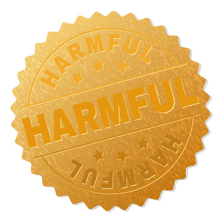HARMFUL gold stamp award. Vector golden award with HARMFUL tag. Text labels are placed between parallel lines and on circle. Golden skin has metallic structure.