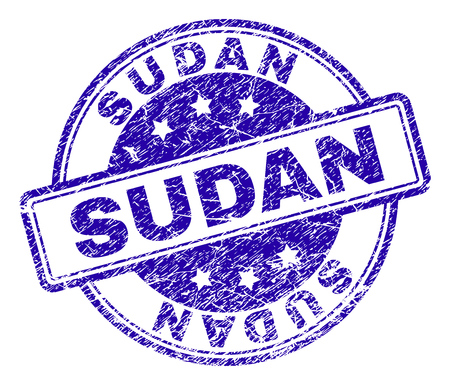 SUDAN stamp seal imprint with distress texture. Designed with rounded rectangles and circles. Blue vector rubber print of SUDAN text with dust texture.