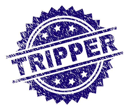 TRIPPER stamp seal watermark with distress style. Blue vector rubber print of TRIPPER tag with retro texture.