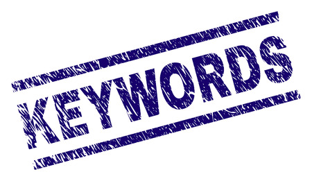 KEYWORDS seal imprint with scratced style. Blue vector rubber print of KEYWORDS text with scratched texture. Text caption is placed between parallel lines.