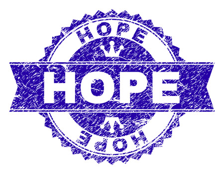 HOPE rosette stamp overlay with grunge style. Designed with round rosette, ribbon and small crowns. Blue vector rubber watermark of HOPE title with retro style.