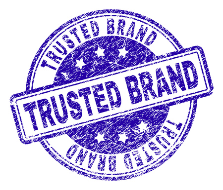 TRUSTED BRAND stamp seal watermark with distress texture. Designed with rounded rectangles and circles. Blue vector rubber print of TRUSTED BRAND label with scratched texture. Illustration