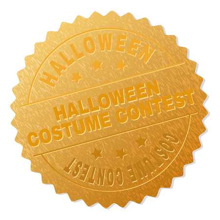 HALLOWEEN COSTUME CONTEST gold stamp award. Vector golden award with HALLOWEEN COSTUME CONTEST text. Text labels are placed between parallel lines and on circle. Golden skin has metallic effect.