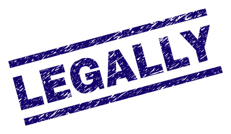 LEGALLY seal print with scratced style. Blue vector rubber print of LEGALLY text with grunge texture. Text label is placed between parallel lines. Stockfoto - 126414897