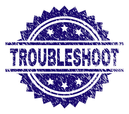 TROUBLESHOOT stamp seal watermark with distress style. Blue vector rubber print of TROUBLESHOOT text with unclean texture.