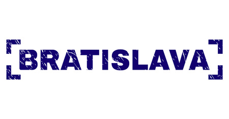 BRATISLAVA text seal stamp with corroded texture. Text label is placed between corners. Blue vector rubber print of BRATISLAVA with dirty texture. Illustration