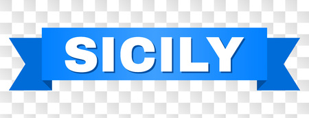 SICILY text on a ribbon. Designed with white caption and blue stripe. Vector banner with SICILY tag on a transparent background.