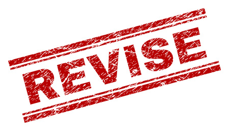 REVISE seal print with corroded effect. Red vector rubber print of REVISE text with scratched texture. Text title is placed between double parallel lines.