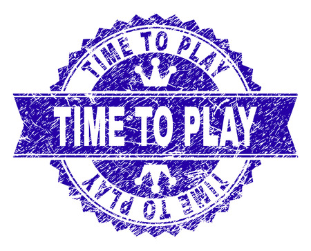 TIME TO PLAY rosette stamp watermark with distress texture. Designed with round rosette, ribbon and small crowns. Blue vector rubber watermark of TIME TO PLAY label with scratched texture. Çizim