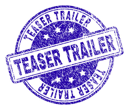 TEASER TRAILER stamp seal imprint with grunge texture. Designed with rounded rectangles and circles. Blue vector rubber print of TEASER TRAILER caption with scratched texture.
