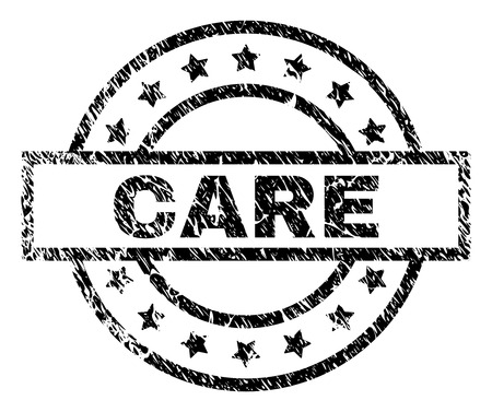 CARE stamp seal watermark with distress style. Designed with rectangle, circles and stars. Black vector rubber print of CARE text with dust texture.  イラスト・ベクター素材