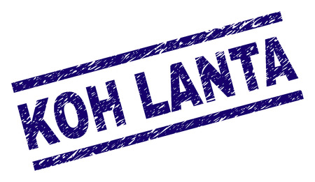 KOH LANTA seal stamp with grunge style. Blue vector rubber print of KOH LANTA label with grunge texture. Text tag is placed between parallel lines.