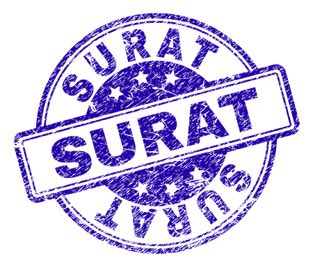 SURAT stamp seal watermark with grunge texture. Designed with rounded rectangles and circles. Blue vector rubber print of SURAT label with unclean texture.