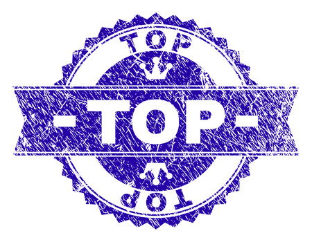 TOP rosette stamp watermark with grunge texture. Designed with round rosette, ribbon and small crowns. Blue vector rubber watermark of TOP caption with scratched texture.