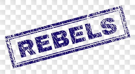 REBELS stamp seal print with rubber print style and double framed rectangle shape. Stamp is placed on a transparent background. Blue vector rubber print of REBELS title with corroded texture. Illustration
