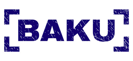BAKU text seal watermark with distress texture. Text label is placed inside corners. Blue vector rubber print of BAKU with grunge texture.