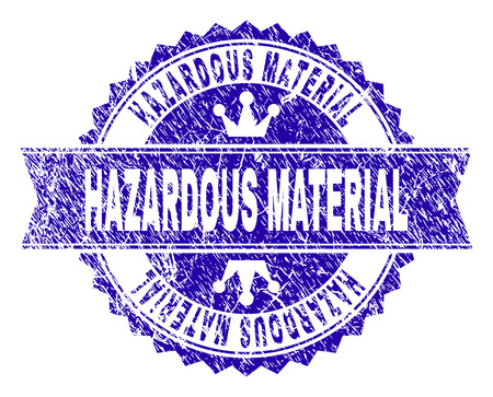 HAZARDOUS MATERIAL rosette seal imprint with grunge texture. Designed with round rosette, ribbon and small crowns. Blue vector rubber watermark of HAZARDOUS MATERIAL label with dirty texture.