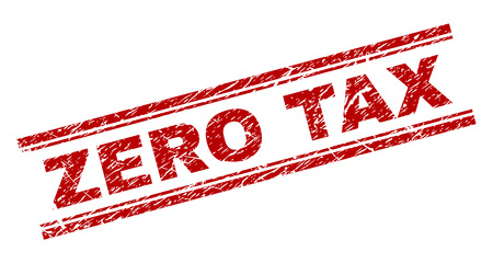 ZERO TAX seal watermark with grunge texture. Red vector rubber print of ZERO TAX title with corroded texture. Text title is placed between double parallel lines.