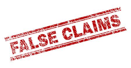 FALSE CLAIMS sceau imprimé avec effet grunge. Impression en caoutchouc de vecteur rouge de l'étiquette FALSE CLAIMS avec texture rayée. L'étiquette de texte est placée entre les doubles lignes parallèles. Vecteurs