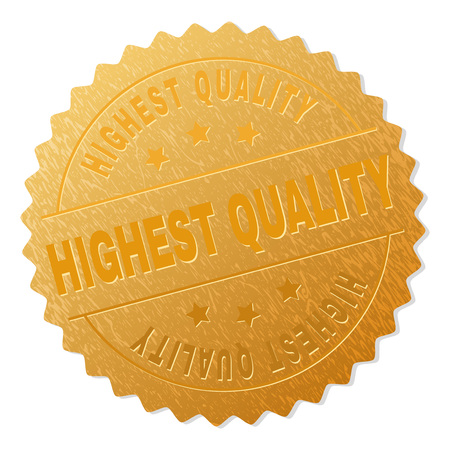 HIGHEST QUALITY gold stamp reward. Vector golden award with HIGHEST QUALITY caption. Text labels are placed between parallel lines and on circle. Golden skin has metallic effect.