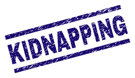 KIDNAPPING seal watermark with grunge style. Blue vector rubber print of KIDNAPPING caption with grunge texture. Text caption is placed between parallel lines.
