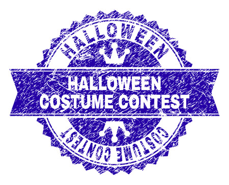 HALLOWEEN COSTUME CONTEST rosette seal watermark with distress texture. Designed with round rosette, ribbon and small crowns.