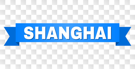 SHANGHAI text on a ribbon. Designed with white caption and blue stripe. Vector banner with SHANGHAI tag on a transparent background.