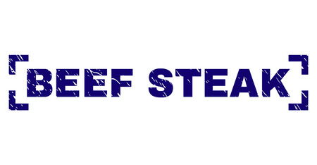 BEEF STEAK text seal print with corroded texture. Text caption is placed inside corners. Blue vector rubber print of BEEF STEAK with unclean texture.