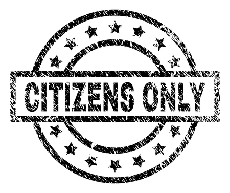 CITIZENS ONLY stamp seal watermark with distress style. Designed with rectangle, circles and stars. Black vector rubber print of CITIZENS ONLY caption with scratched texture.