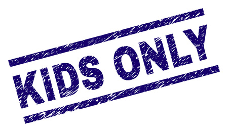 KIDS ONLY seal print with distress style. Blue vector rubber print of KIDS ONLY text with unclean texture. Text label is placed between parallel lines.