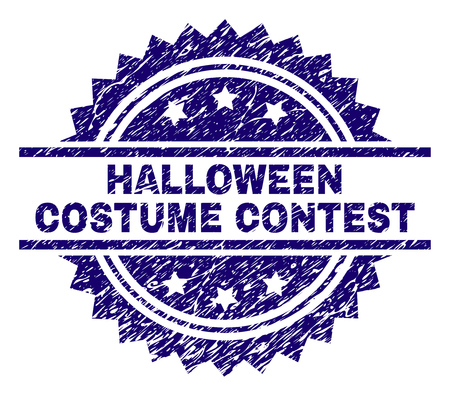 HALLOWEEN COSTUME CONTEST stamp seal watermark with distress style. Blue vector rubber print of HALLOWEEN COSTUME CONTEST text with dust texture.