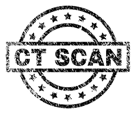 CT SCAN stamp seal watermark with distress style. Designed with rectangle, circles and stars. Black vector rubber print of CT SCAN caption with dirty texture. Ilustración de vector
