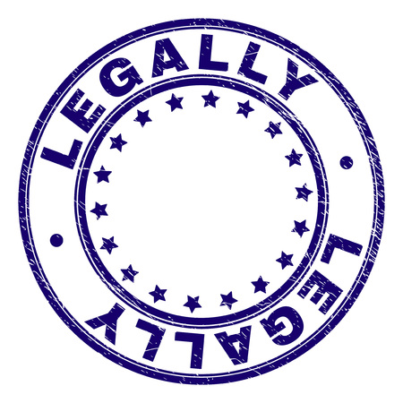 LEGALLY stamp seal imprint with grunge texture. Designed with circles and stars. Blue vector rubber print of LEGALLY title with dust texture.